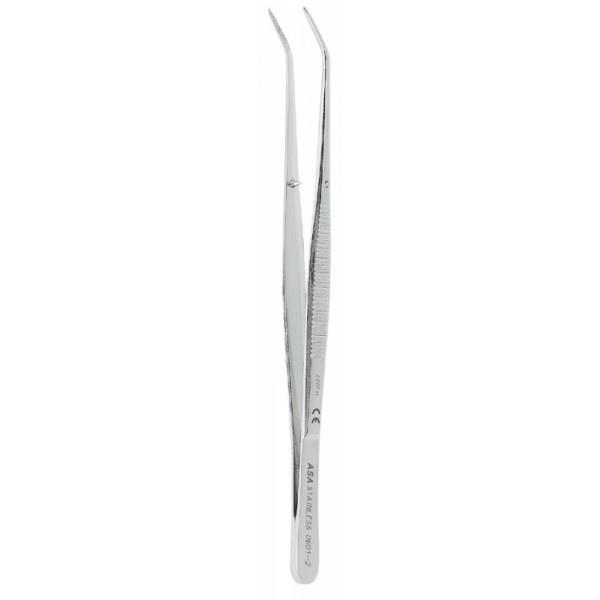 Пинцет анатомический изогнутый N2, 15 см